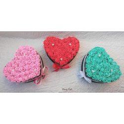 Kis szív rózsabox, 3 színben! (db ár)