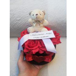 Cuki macis rózsabox szülinapra, ballagásra