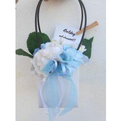 Kék és fehér hortenziás virágtáska