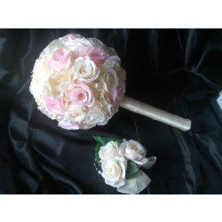 Menyasszonyi csokor, kitűzővel