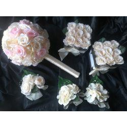 Esküvői menyasszony csokor, szett