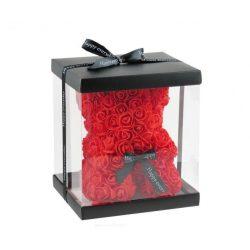 Piros rózsamaci díszdobozban 24 cm
