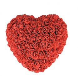 Piros habrózsa szív 24 cm